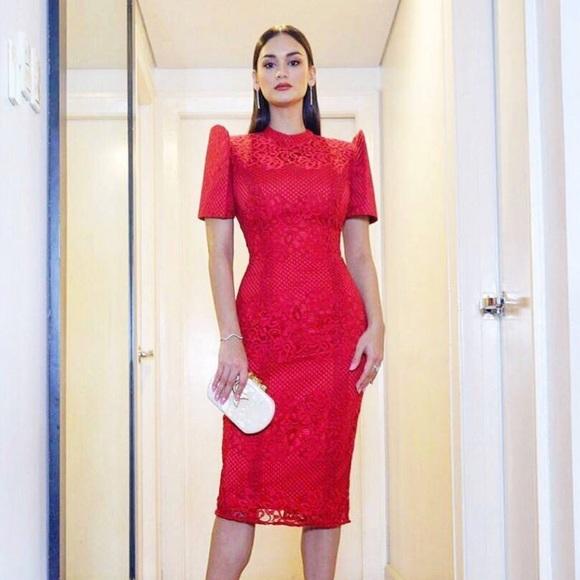 Dresses | Red Modern Filipiniana Lace Dress | Poshmark